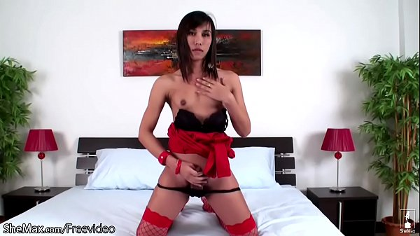 Asian ladyboy, Red, Hairy asian