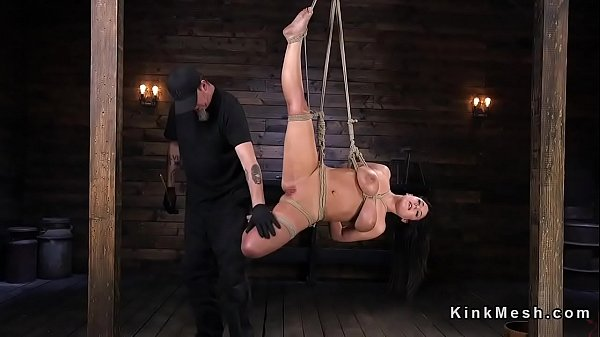 Huge tits, Caning, Hogtied